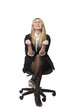 Woman looking happy in a office chair
