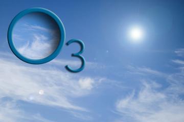 Logo O3 su cielo con sole