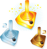 Gold Silver and Bronze gamers joysticks vector illustrations poster