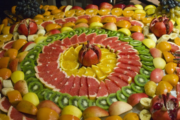 Sliced fruits on dish