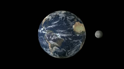 Earth and Moon animation loop 1080p Full HD