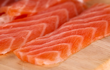 Slices of salmon, close-up