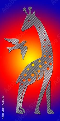 Leinwandbild Motiv Giraffe and Bird - Wilderness - Sunset