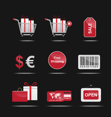 shopping icons red