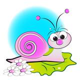 Fototapety Snail, flowers and green leaf - Kid Illustration