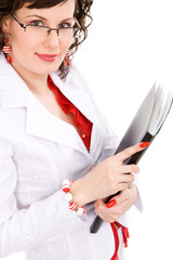 Businesswoman in a white suit