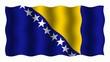 3D-animierte Flaggen im Wind: Bosnien und Herzegowina