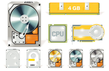 Vector hardware detailed icon set