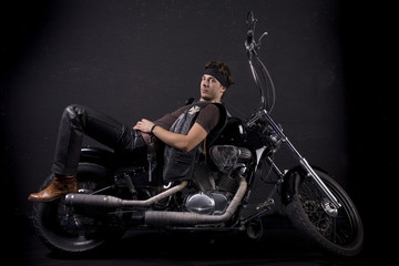 motorcycle and young man