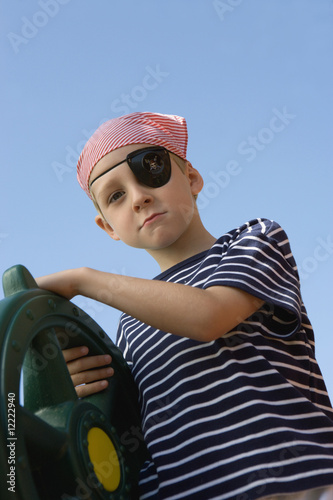 Little Boy Playing Pirate