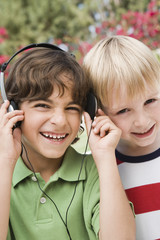 Little Boys Listening to Headphones