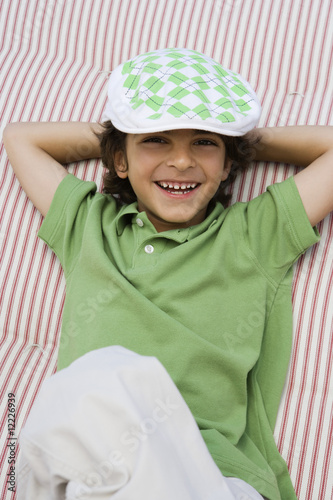 Boy Wearing Newsboy Cap