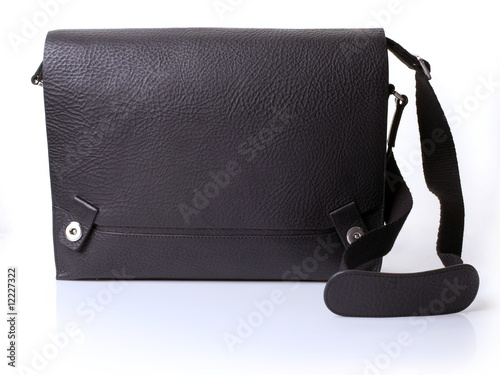 Poster The black leather man's bag on white background