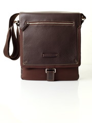 The brown leather man's bag on white background