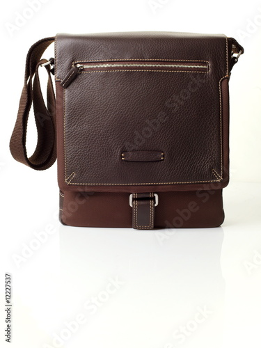 The brown leather man's bag on white background Poster