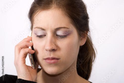 canvas print picture Frau am Telefonieren