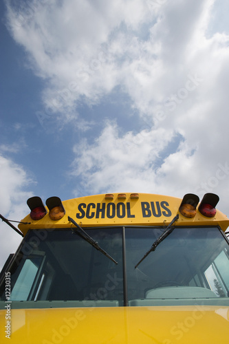 Caution Lights and Windshield of School Bus