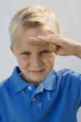 Young Boy Saluting