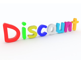 """Multicoloured word """"discount"""" on white background"""