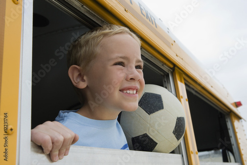 Boy on School Bus