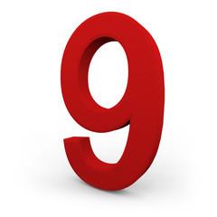 Number Nine on White Background