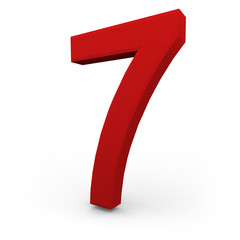 Number Seven on White Background