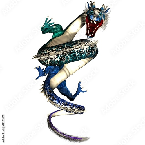 Coiled Angry Tattoo Style Asian Blue-Green Dragon Art