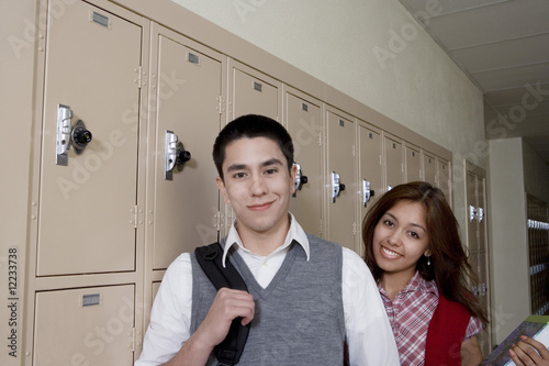 High School Students Beside School Lockers