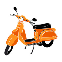 Classic scooter in red-orange-black colors isolated
