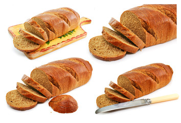 Set of whole wheat breads and tableware isolated