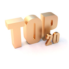 """isolated 3d golden text """"TOP 20"""""""