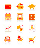 All about earning, saving and spending money icon set. poster