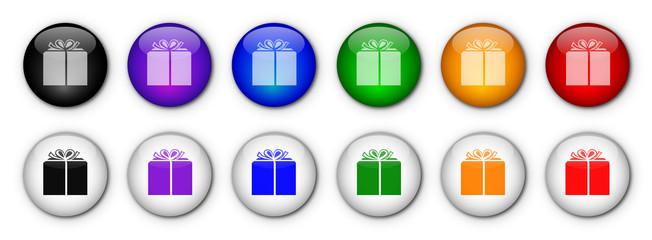 """Boutons """"Cadeau""""  (x12 - Multicolores)"""