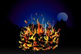 Campfire burning at night poster