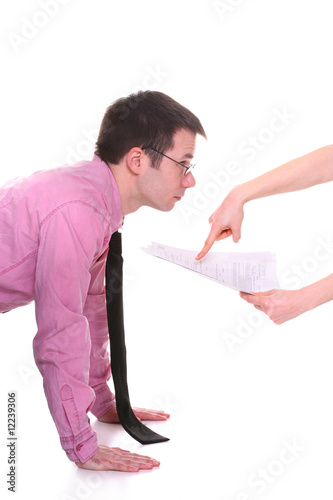 businessman forced to look at the contract