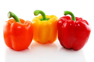 Three colored paprika isolated