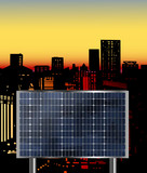 Solar cell panel use in the urban environment poster