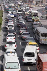 Dubai, UAE, Traffic is backed up on Al-Maktoum Road in Deira; traffic in Dubai during morning.