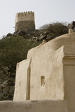 Bidyah, UAE, two watchtowers overlooking Al Bidyah Mosque built in 1446