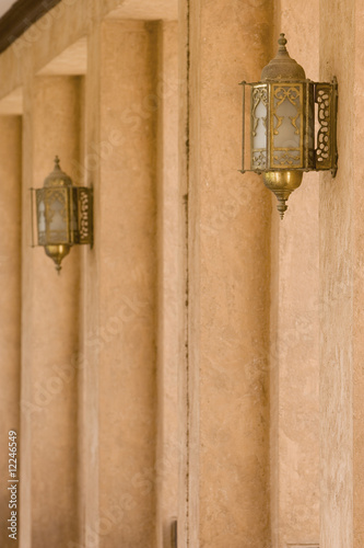 al ain, uae, architectural detail of hallway and ornate lanterns at al ain palace museum