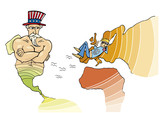 Metaphor Illustration of USA and European Union poster