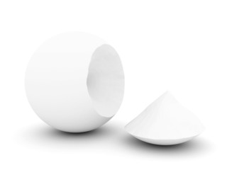 The broken white sphere on a white background