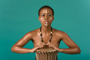 indigenous nude African American woman with drums