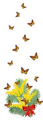 Banner verticale con mimosa e farfalle