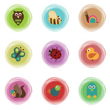 spiral buttons with wildlife icons poster