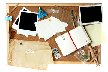 Corkboard full of blank items for editing