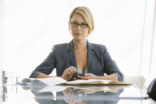 business woman working in conference room, portrait