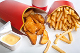 group of fast food with fries poster