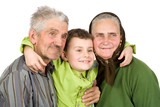 Happy elderly couple with their grandson poster