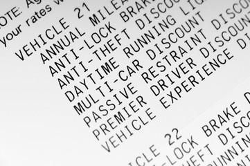 Car insurance statement